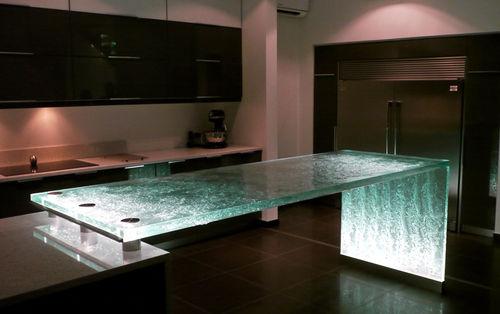 comptoir de cuisine / en verre / droit / lumineux
