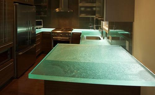 plan de travail en verre / de cuisine