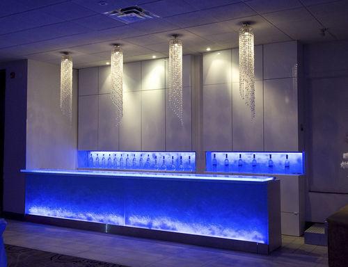 comptoir de bar / en verre / droit / lumineux