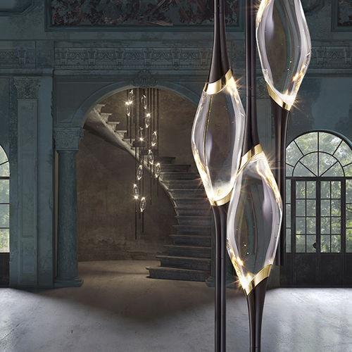 lustre design original / en cristal / en laiton / en laiton plaqué or