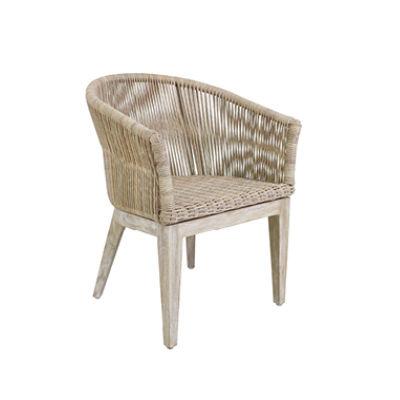 chaise de jardin contemporaine / en noyer / en résine tressée