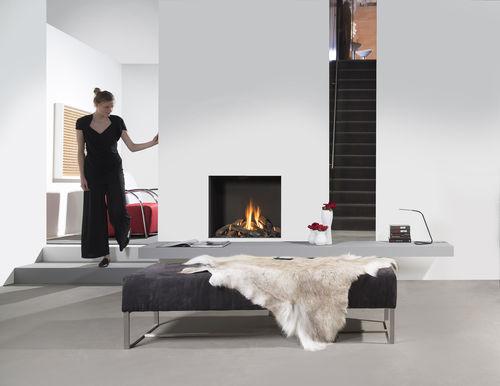 cheminée à gaz / contemporaine / à foyer fermé / à encastrer