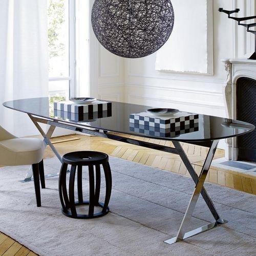 table contemporaine / en marbre / en fibre de bois / ovale