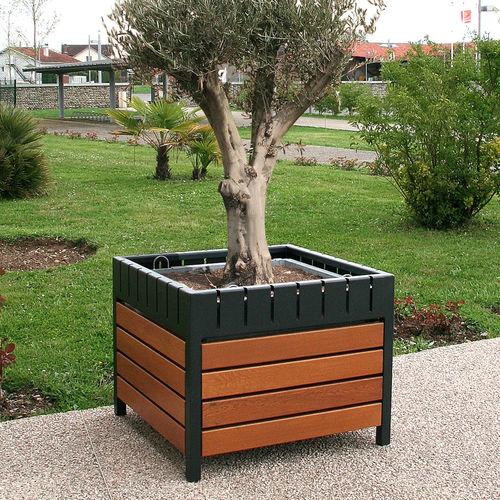 jardinière en acier / en chêne / carrée / contemporaine