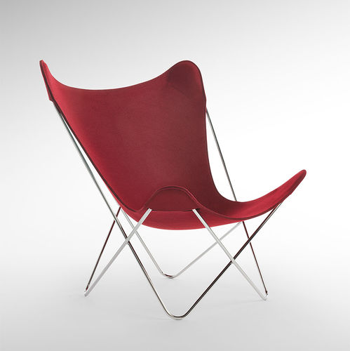 chaise de jardin contemporaine / en acier / en tissu / rouge