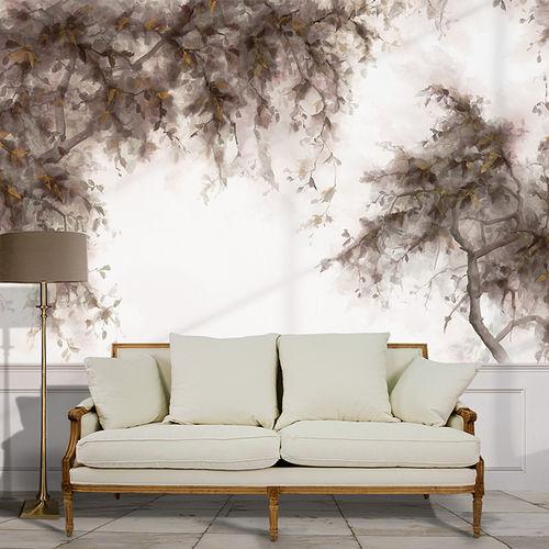 papier peint classique / en coton / à motif nature / vert
