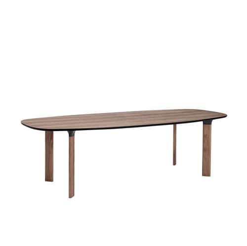 table contemporaine / en noyer / en bois massif / en stratifié