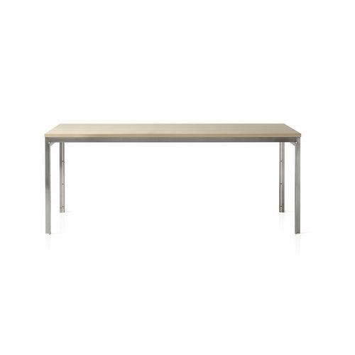 table contemporaine / en frêne / en acier inoxydable brossé / rectangulaire