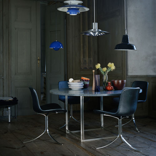 table contemporaine / en acier inoxydable / en marbre / en granite