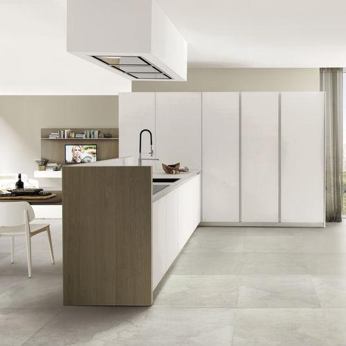 cuisine contemporaine / en plaqué bois / en verre / en aluminium