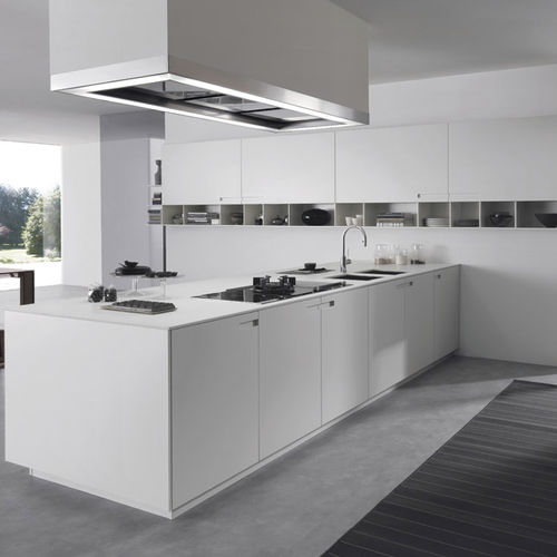 cuisine contemporaine / en pierre / en aluminium laqué / en acrylique