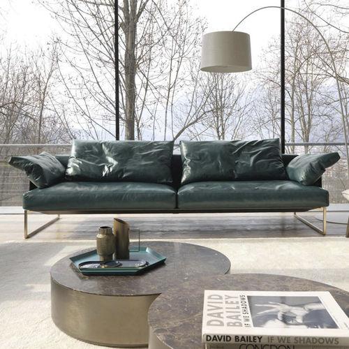 canapé contemporain / en tissu / en cuir / 2 places
