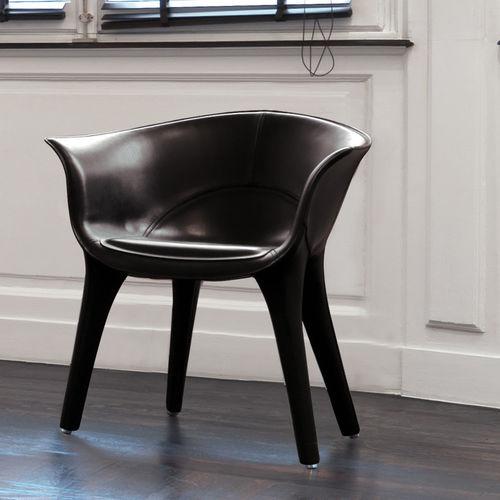 chaise contemporaine / tapissée / avec accoudoirs / en cuir