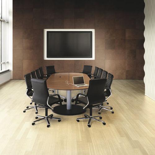 table de réunion contemporaine / en bois / rectangulaire / avec prise de courant intégrée