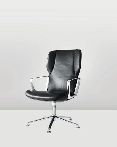 chaise de conférence contemporaine / tapissée / avec accoudoirs / à roulettes
