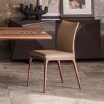 chaise contemporaine / en tissu / en hêtre / en noyer