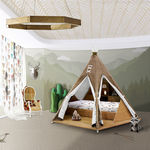 Lit simple / design original / en bois / en tissu TEEPEE ROOM Circu