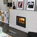 cheminée à bois / contemporaine / à foyer fermé / à encastrer