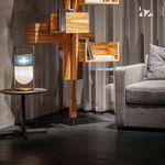 lampe de table / contemporaine / en verre soufflé / en cuir