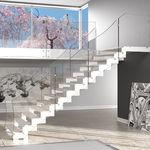 escalier droit / marche en bois / structure en métal / sans contremarche