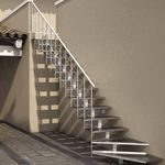 escalier droit / quart tournant / structure en métal / marche en métal