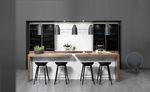 comptoir de bar / de cuisine / en bois / droit