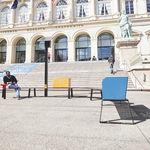 banc public / contemporain / en métal / avec dossier