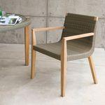 fauteuil visiteur contemporain / en teck / blanc / d'extérieur
