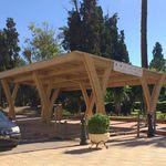 abri de voiture en bois / professionnel / avec panneaux photovoltaïques intégrés