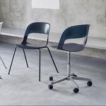 chaise visiteur contemporaine / en acier chromé / en chêne / empilable