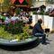 jardinière en polyéthylène / ronde / avec banc intégré / contemporaine