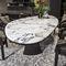 table contemporaine / en marbre / en cuir / rectangulaire