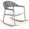 fauteuil contemporain / en bois massif / en iroko / en aluminium peint