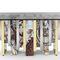 table à manger design original / en verre trempé / en laiton poli / rectangulaire