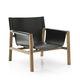 fauteuil contemporain / en cuir / bois / noir
