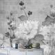 papier peint contemporain / en fibre de cellulose / à motif floral / gris