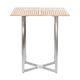 table mange-debout contemporaine / en teck / en acier inoxydable / carrée