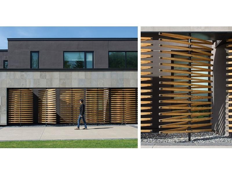 Détail De Conception Architecturale écrans En Bois De Pivotement