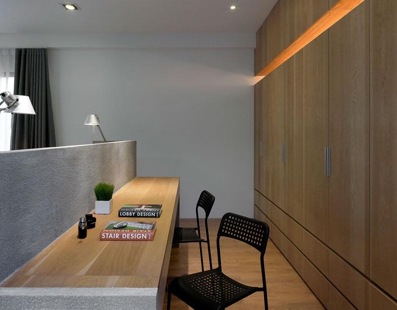 Idée de conception de chambre à coucher u un bureau construit