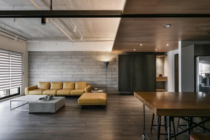 Beton In Interieur : Une palette de bois de métal et de béton pour cet intérieur d