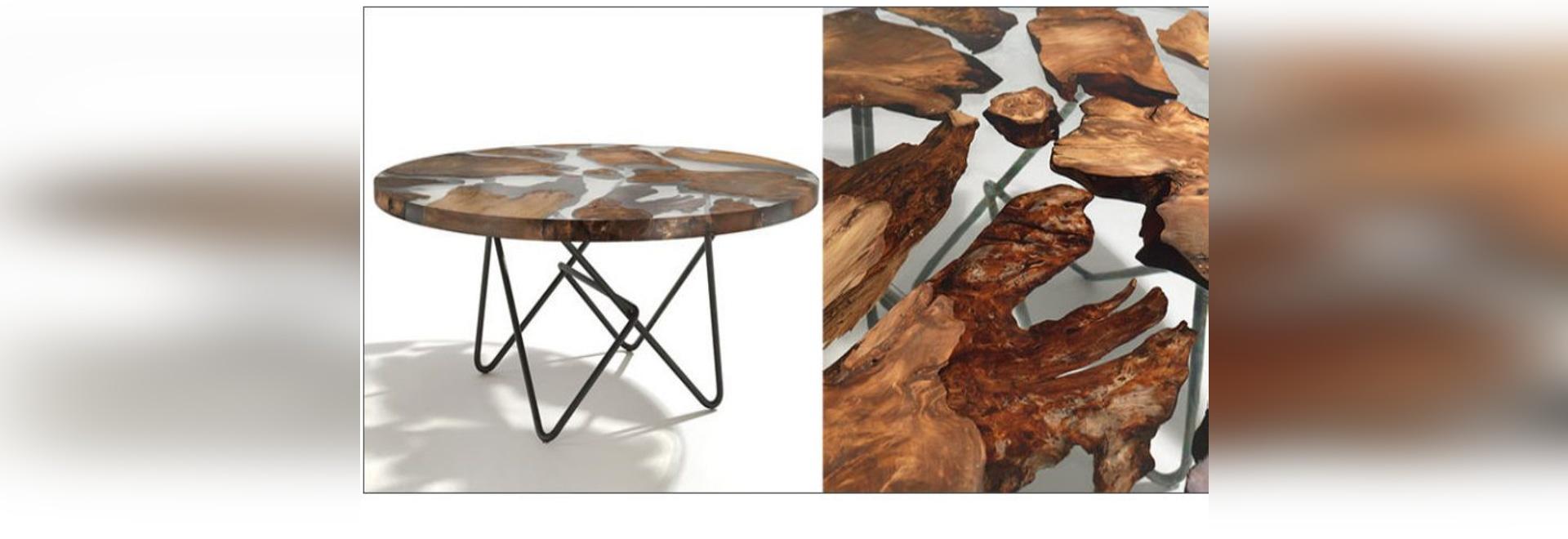 Du bois antique du Nouvelle-Zélande a été combiné avec de la résine pour créer ce dessus unique de Tableau