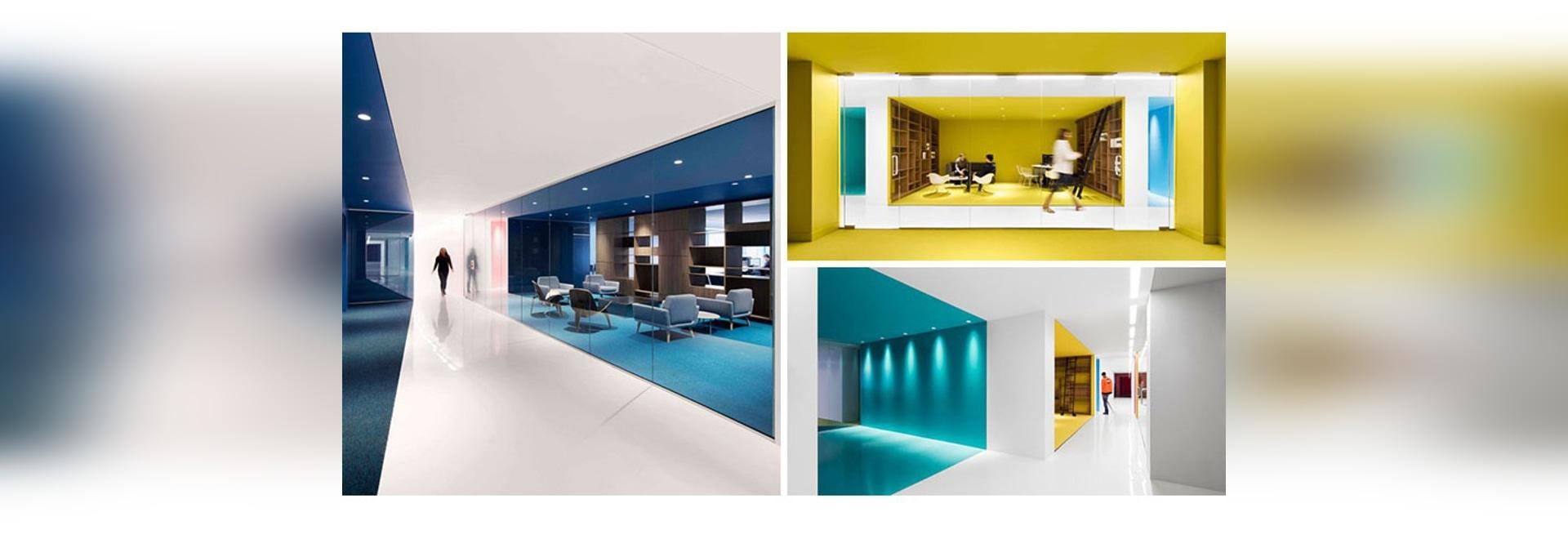 cette couleur utilisée intérieure de bureau pour créer les espaces