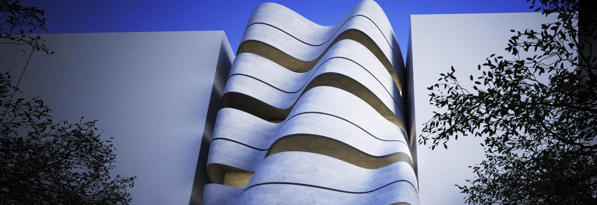 en fait le studio conteste le paysage résidentiel de la Nouvelle Delhi avec une façade incurvée légère