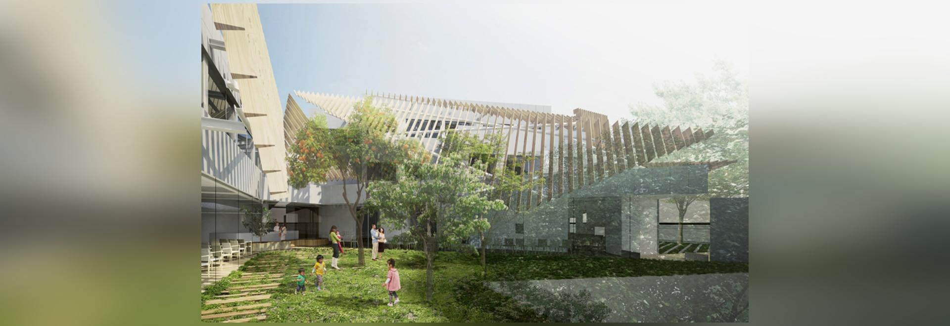 Kengo Kuma complète l'hôpital de kinoshita de seijo avec les auvents de flottement de bois de construction