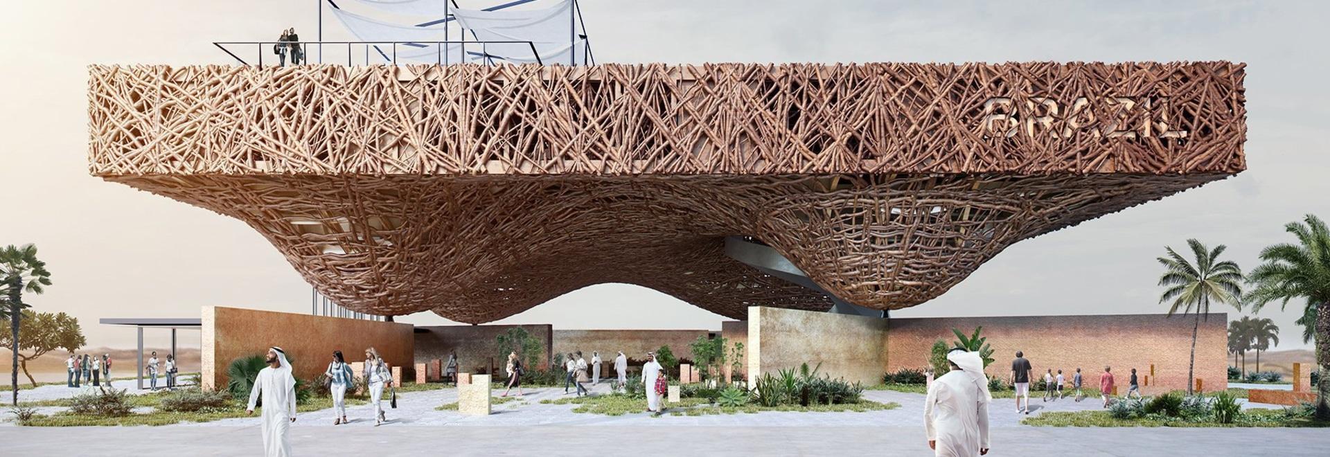 kozlowski + cardia proposer un pavillon de flottement des branches d'arbre pour l'expo 2020 du Dubaï