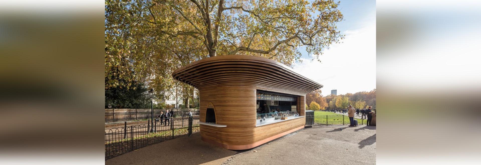Un nouveau kiosque sculptural de parc s'est ouvert à Londres