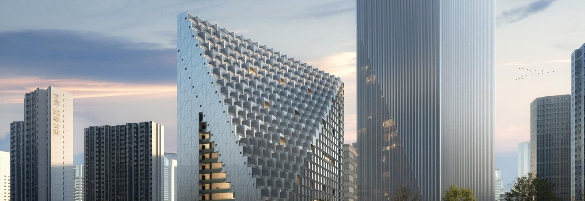OMA casse la terre sur le prisme de Hangzhou de xinhu au futur district des affaires central de la ville