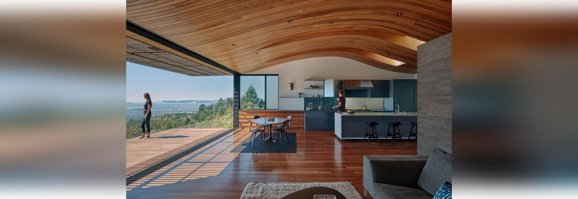 Le plafond dans cette Chambre moderne fait écho la forme de Hillside qu'elle se repose dessus