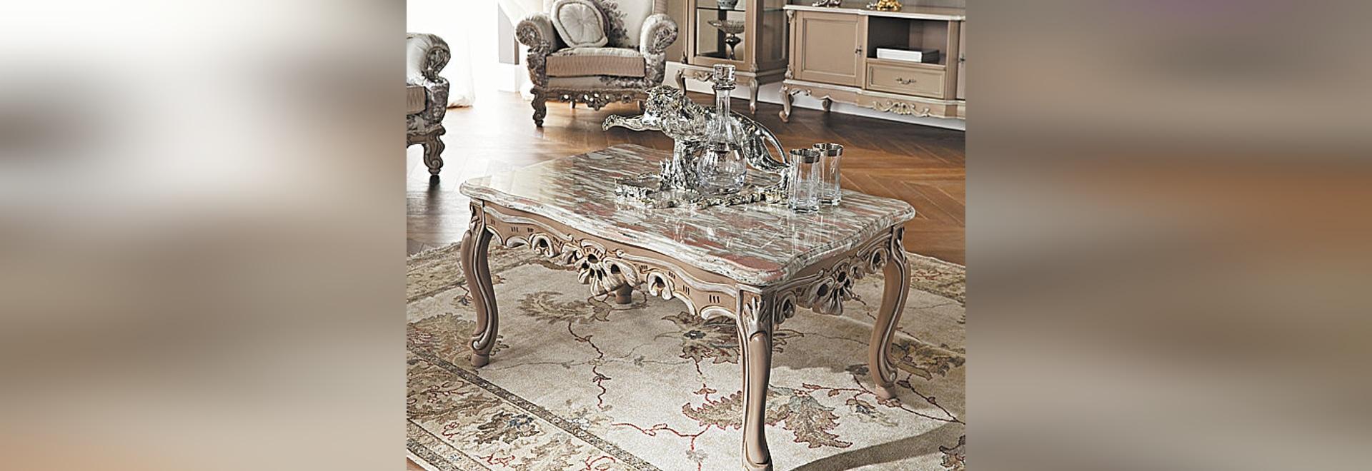 Table Basse Rectangulaire Avec Plateau En Marbre Modenese Gastone