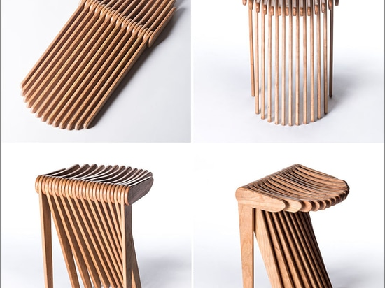 Ce tabouret est fait à partir de 27 morceaux en bois de verrouillage
